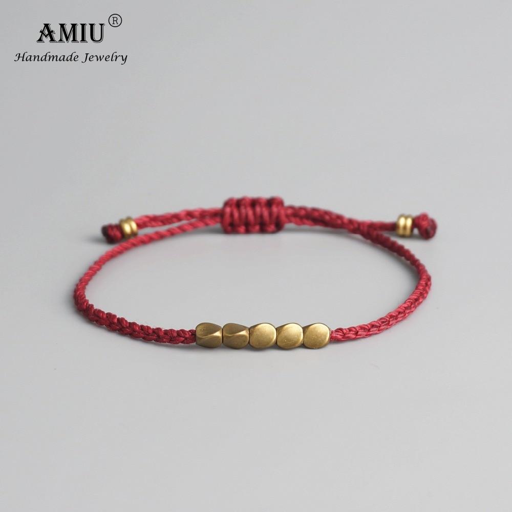 AMIU Handmade Tibetan Copper Bead Lucky Rope Bracelet & Bangles For Women Men Wax Thread Bracelets