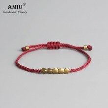 529c117c21c0 Pulsera y brazaletes de cuerda de la suerte de la cuenta de cobre tibetana  hecha a
