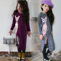 Crianças de alta Qualidade Casual Vestido da Cópia Do Gato Meninas Vestido Longo bebê Roupas de Menina de Moda Tripulação Manga Longa Pescoço Dos Desenhos Animados Emendados vestido
