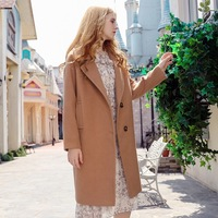 2017 Autumn Winter High Quality Solid Color Temperament Woolen Coat Fashion Women Clothing Single Breasted Overcoat