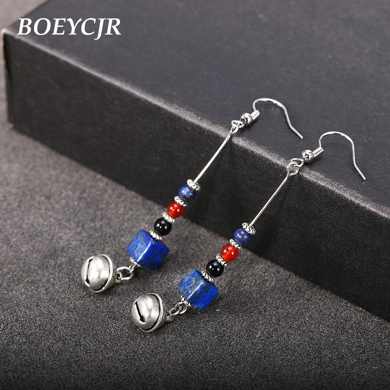 Audacious Boeycjr Natural Blue Stone Bead Drop Earrings Handmade Nepalese Ethnic Bell Earrings Fashion Jewelry Dangle Earrings For Women Fine Workmanship Earrings Jewelry & Accessories
