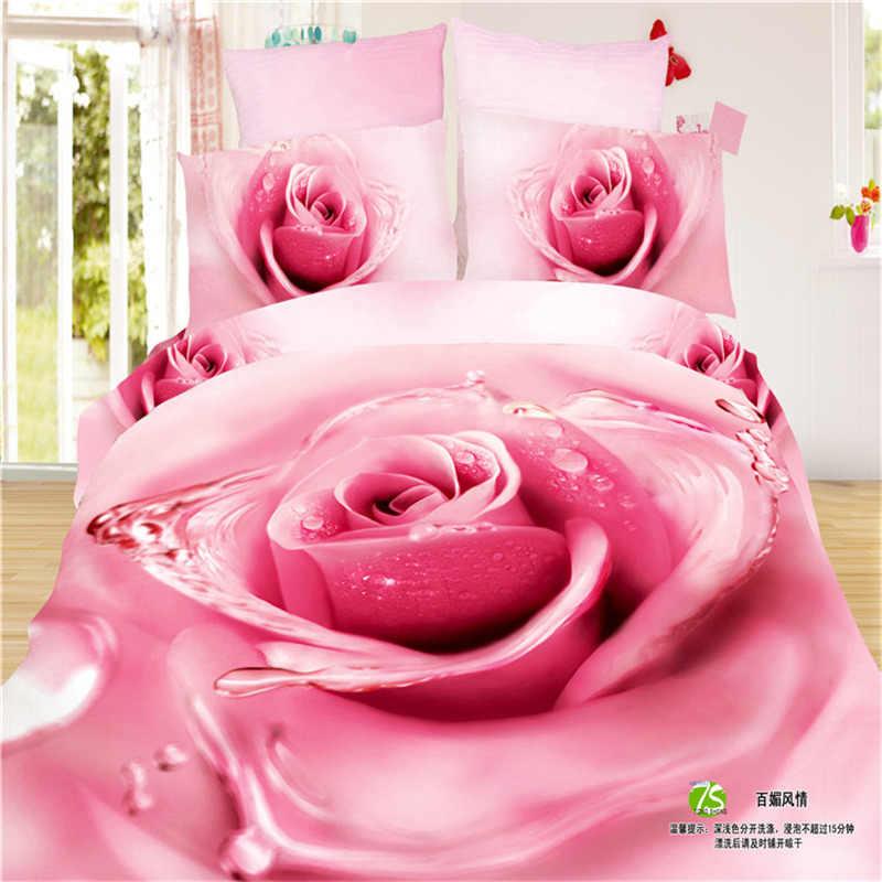 100 Cotton Oil Print Queen Girls 3D Black Rose Bedding Sets King Queen Size  Yellow duet cover flat sheet and pillowcases