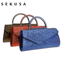 SEKUSA Fashion Women Clutches With Handle Sequined Evening Bags Gold/Red/Blue Mixed Wedding Party Evening Bags Cover Open Style(China)