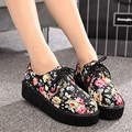 Flat Platform Casual Women Flats Round Toe Thick Sole Flat Shoes Fashion Rubber Ladies Shoes Women's Creepers Size 35-39 PX135