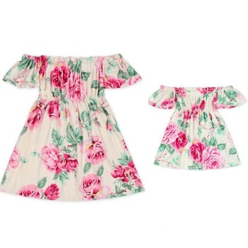 off shoulder mother mom and daughter dresses family matching outfits mommy and me clothes family look floral mum mama baby dress 3