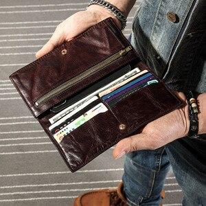 Image 3 - AETOO ultra ince erkek uzun cüzdan deri orijinal retro cüzdan kişilik vintage kafa katman deri basit genç erkek cüzdan