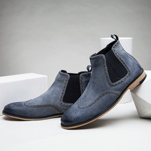 Men's genuine leather boots Winter Ankle chelsea boots for man Zapatos Hombre man casual shoes hot sale flats LA6160M