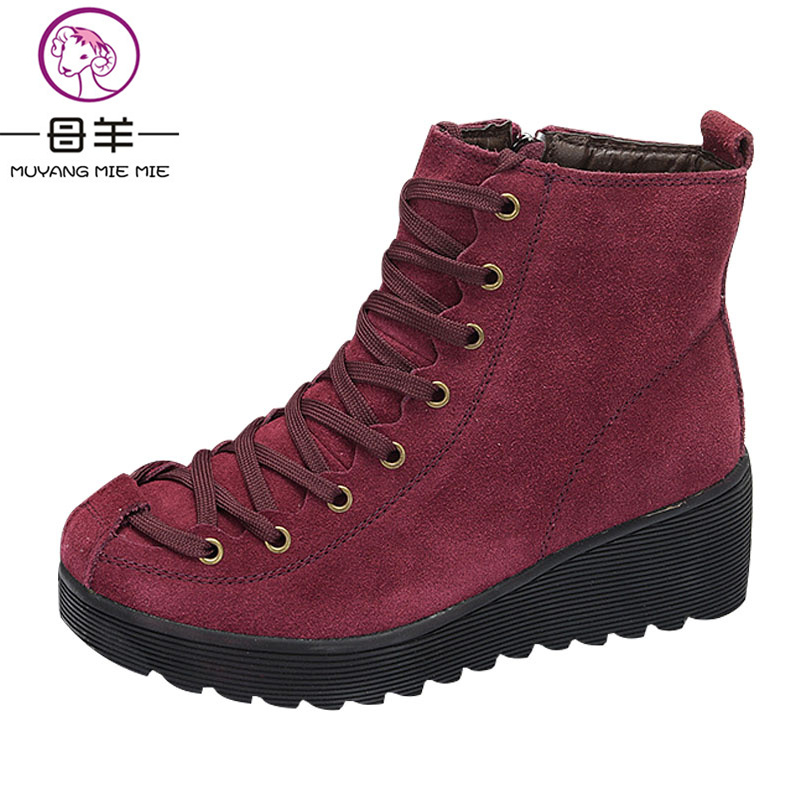 Winter Boots Women Genuine Leather Wedges Platform Ankle Boots 2017 Warm Lace Shoes Woman Snow Boots