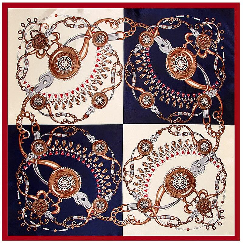 Women   Scarf   New 2018 Summer Thin Shawl   Scarf   Women China Satin Fashion Chain Gem Printed Female Square   Scarves     Wraps   90*90CM