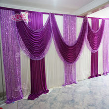 New Ice Silk White Wedding Backdrop with Purple Sequins Swag Custom Color Luxury Wedding Background for Wedding Party Decor