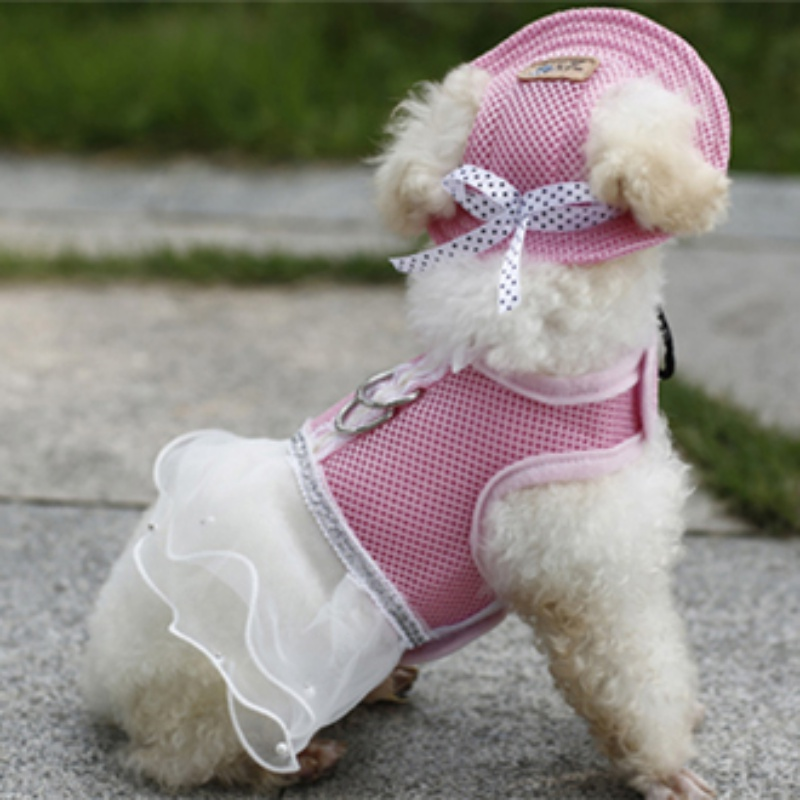 Pet <font><b>Dog</b></font> <font><b>Dress</b></font> <font><b>Harness</b></font> Bow-knot Polyester Cellular <font><b>Dog</b></font> <font><b>Dresses</b></font> Sleeveless Skirts Pets Apparel with <font><b>Harness</b></font> Buckle image