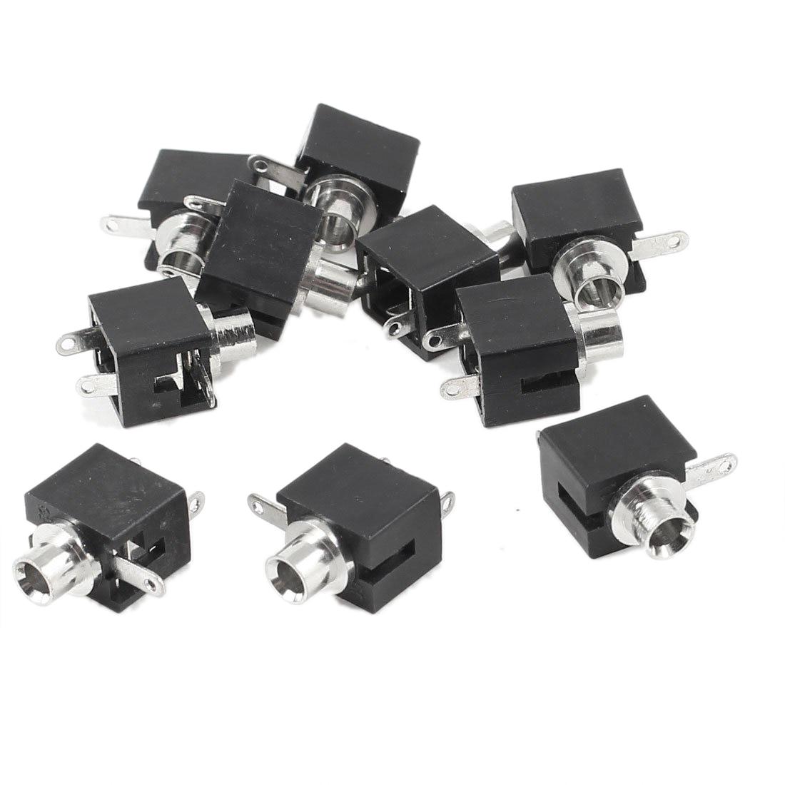 Presa da 10 pezzi per cuffie audio mono da 2,5 mm nero femmina 3 pin - Audio e video portatili