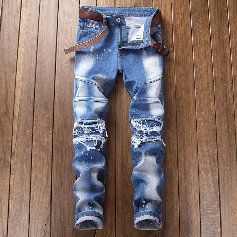 2018 new original BIKER JEANS stitching JEANS fashion personality ripped JEANS ...