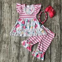 Atacado meninas do bebê roupas de Verão meninas floral lace ruffle outfits crianças stripe capri com ruffle roupas com acessórios
