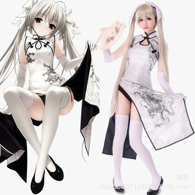 Anime Yosuga no Sora Men Women Cheongsam Lolita Dresses Kasugano Sora Cosplay Costumes Sexy Chinese gown Dress