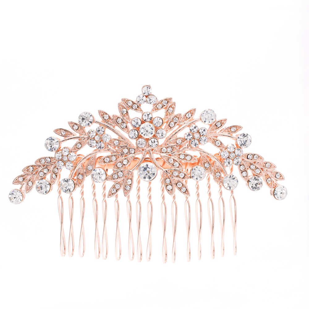 Rose Gold Rhinestone Crystals Leaves Wedding Bridal Hair Side Comb Hairpins Women Hair Accessories Jewelry GT4395RGL