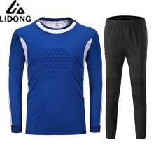Novos Homens Esponja De Futebol Goleiro Goleiro Camisas de Futebol Define  Crianças Agasalho Uniformes Kits Goleiro c696ed01e67f3