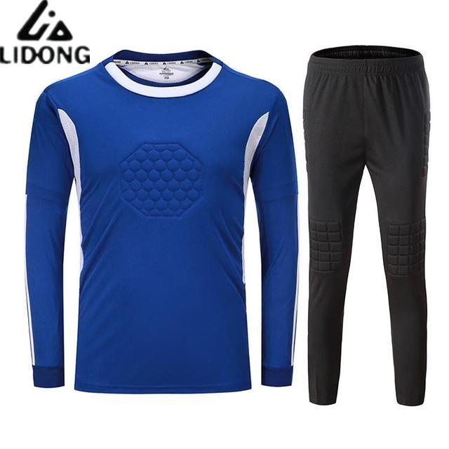 Nuevo fútbol Jerseys portero niños hombres esponja fútbol Goal Keeper  uniformes chándal Kits portero entrenamiento Tops ef043cff29956