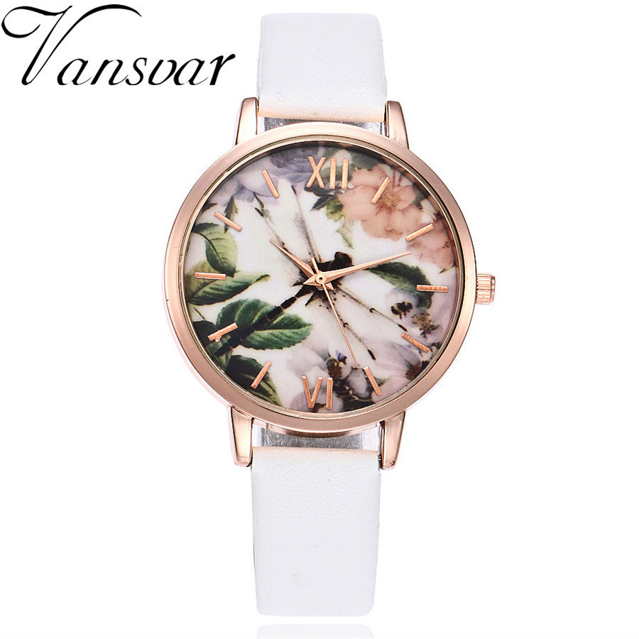 Vansvar Brand Women Flower Watch Casual Leather Wrist Watch Women Dress Ladies Quartz Watch Clock Relogio Feminino Drop Shipping vansvar brand vintage leather human anatomy heart wrist watch casual fashion ladies women quartz watch relogio feminino v46