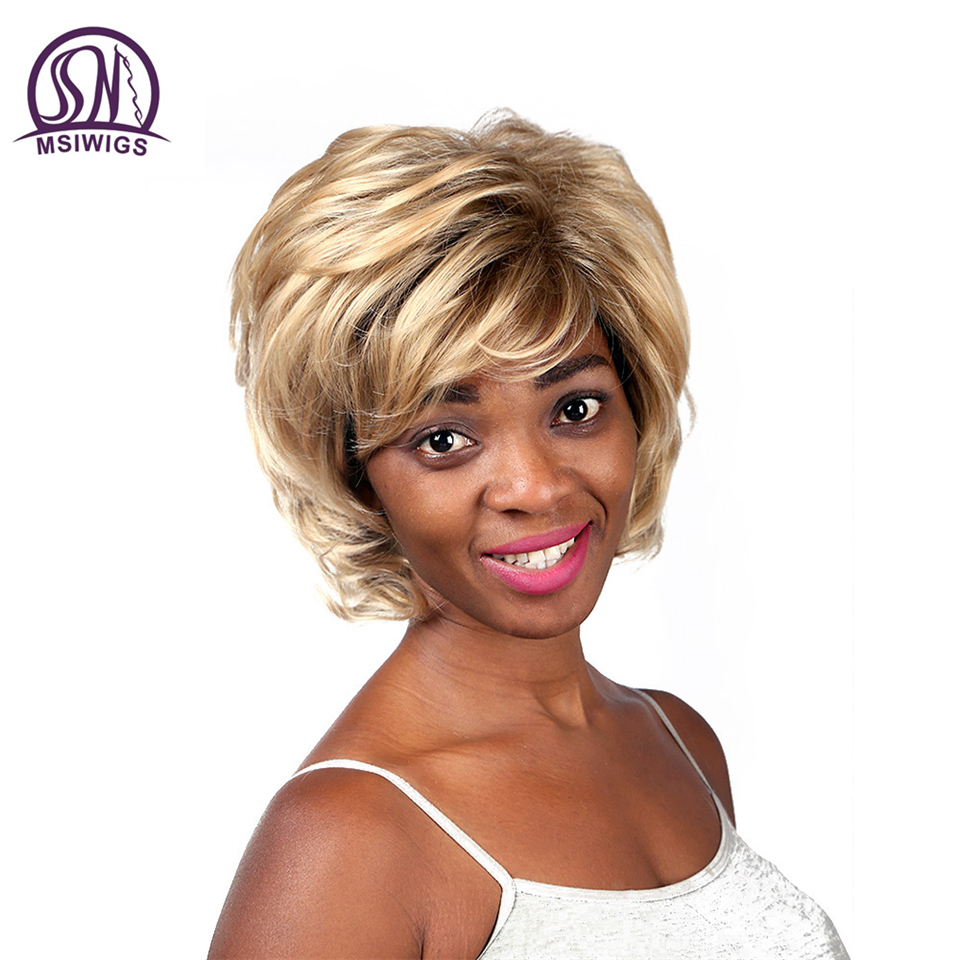 MSIWIGS Loose Wavy Synthetic Ombre Wigs For Women Short Blonde Wigs American Afro Ladies High Temperature Fiber White Hair