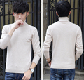 Drop shipping Mens Beige Wool Turtleneck Sweater Slim Fit Solid Men Knit Cashmere Pullovers And Sweaters For Men Size S-2XL