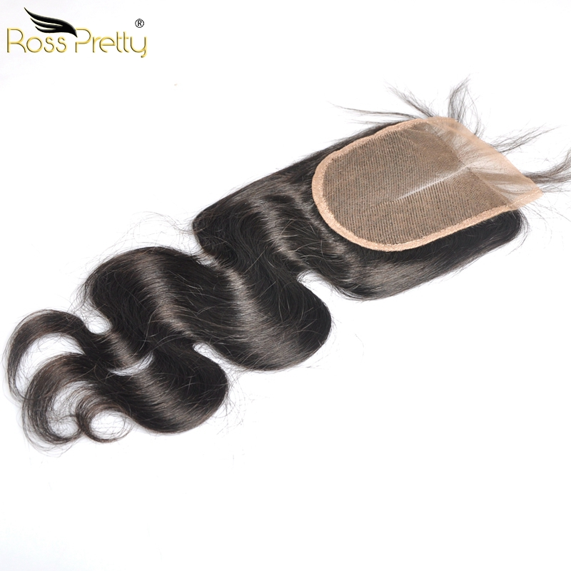 Ross Pretty Hair Pre Plucked human hair 4x4 Lace Closure Natural Brazilian Body Wave Quality Brazilian Remy Hair Closure