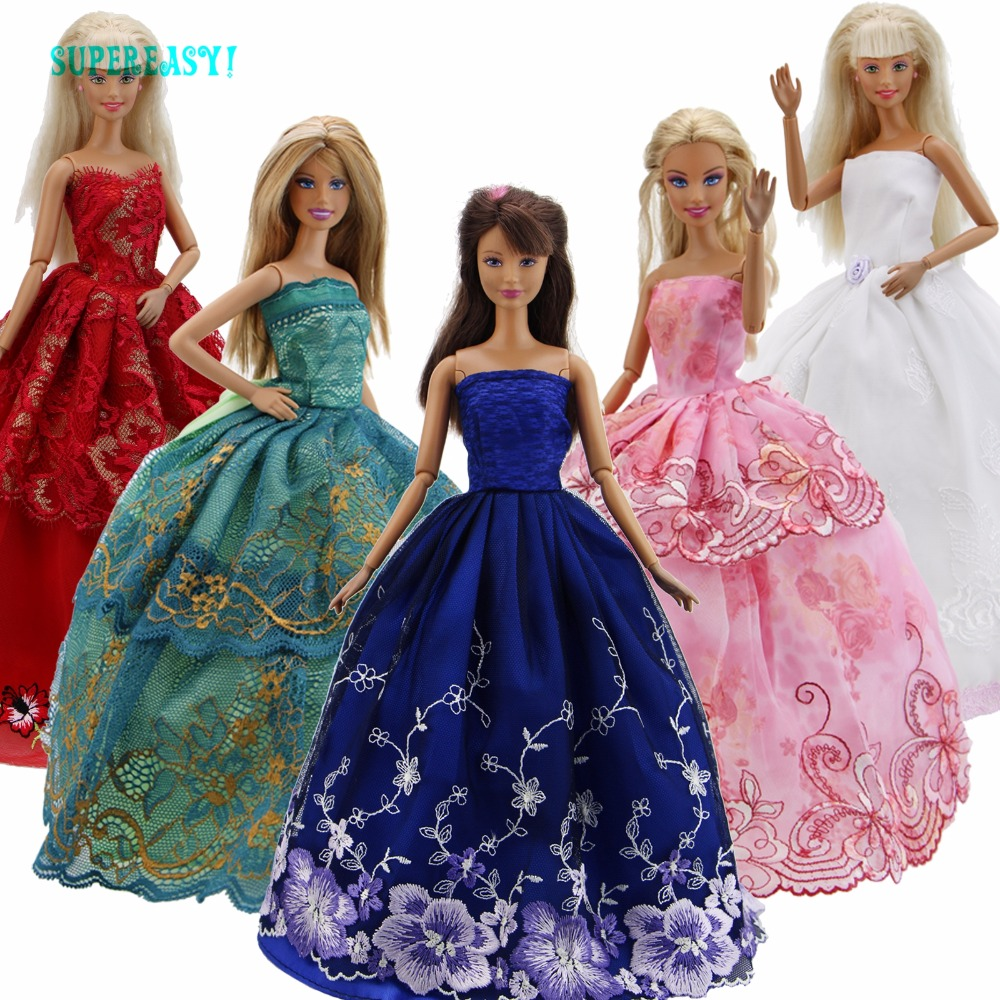 5 Pcs/Lot Handmade Dress Wedding Party Outfit Gown Colourful Princess Lace Skirt Bride Clothes For Barbie Doll Accessories Gift new 20 pcs set handmade party 12 clothes fashion mixed style dress 8 pair accessories shoes for barbie doll best gift girl toy