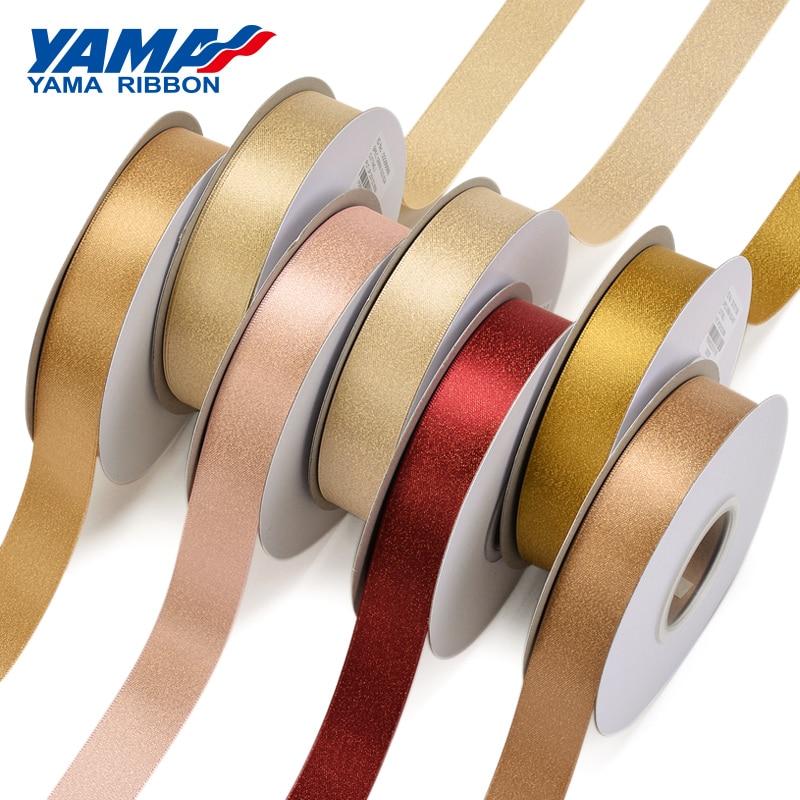 "1//4/"" /& 3//8/"" X 50 Yards Single Face Satin Ribbon with Metallic Gold Edge"