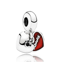 ROCKART 925 Sterling Silver Jewelry Double Heart Charms With Red Enamel Dangle For Women DIY Charm