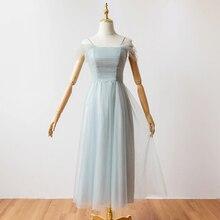 Midi Grey Color Boat Neck Bridesmaid Dresses for Wedding Party Elegant Dress Women Prom Azul Royal Back of Zipper