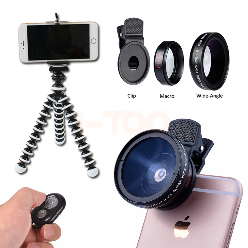 2017 12.5X Macro 0.45X Wide Angle Lens For Samsung S5 S6 S7 S7 S8 edge Note 4 5 Smartphone Camera Lenses Kit WithTripod Clips