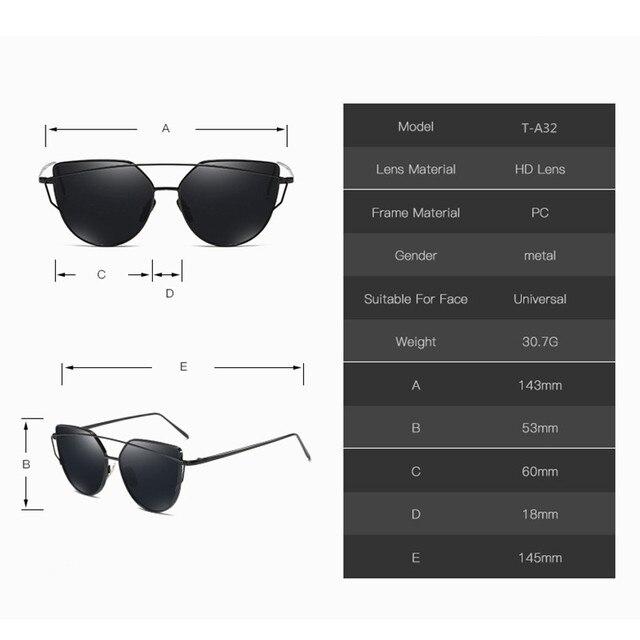 2018 Sunglasses Women Luxury Cat eye Brand Design Mirror  Rose New Gold Vintage Cateye Fashion sun glasses lady Eyewear  1