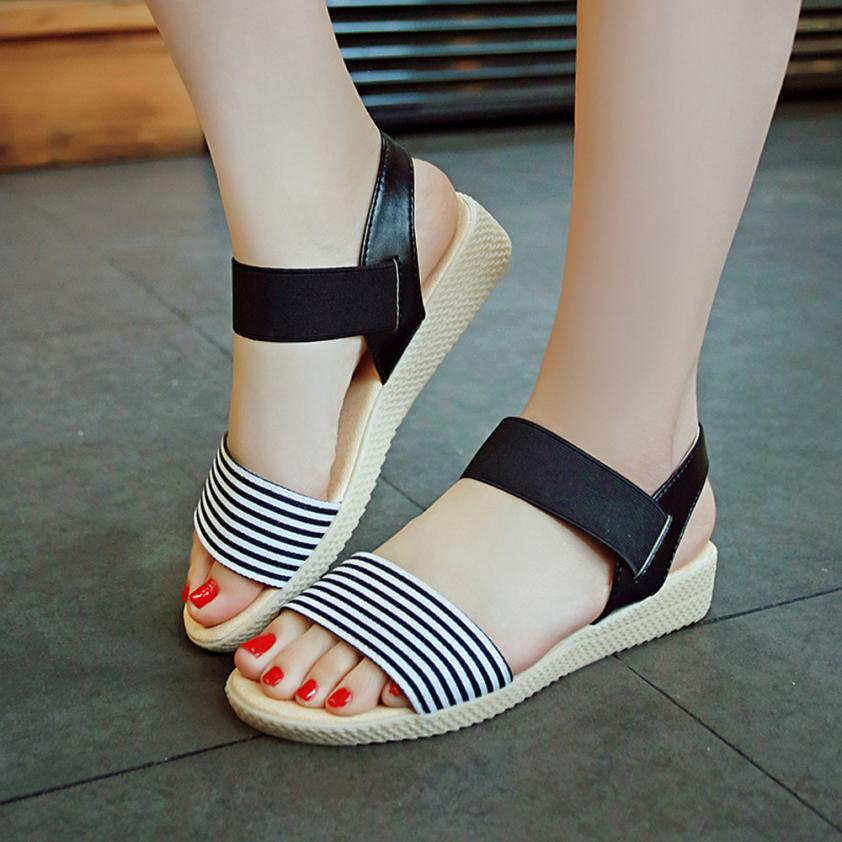 Fashion Women Flats Summer Hot Sale Sandals Female Stripe Flat Heel Anti Skidding Comfort Open Toe Beach Shoes Sandals Slippers 14