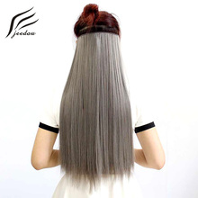 jeedou Clip in One Piece Hair Extension Straight 60cm Synthetic Natural Black Gray Ombre Color Cosplay Elderly Hairpieces