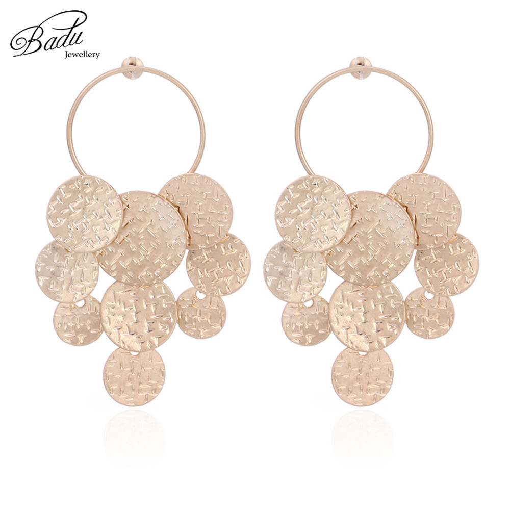 Badu Exaggerated Big Metal Earring Golden Round Metallic Punk Vintage Women Earrings Fashion Jewelry Christmas Wholesale