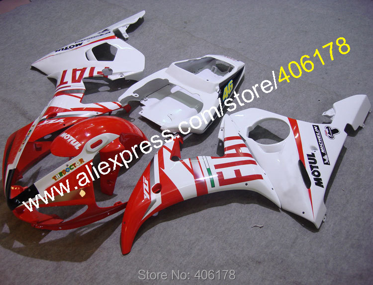 Hot Sales,2005 R6 Fairings for Yamaha YZF R6 05 YZF-R6 05 YZF 600 R6 YZF R6 Red FIAT ABS Fairing set (Injection molding)