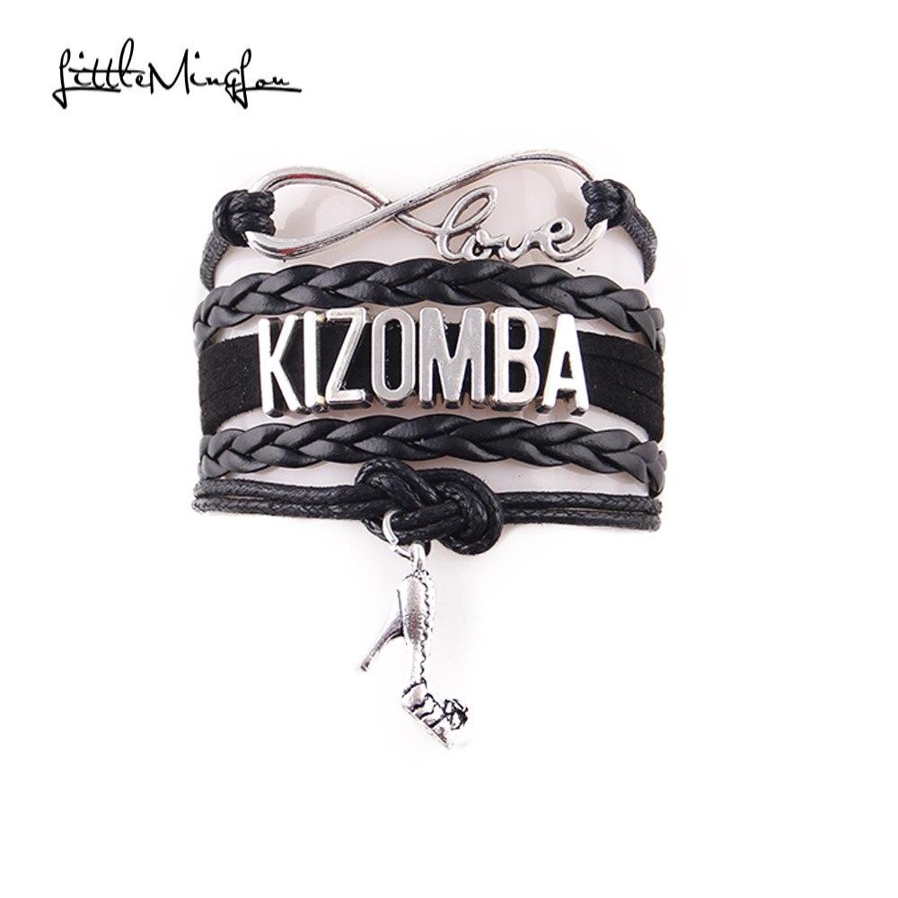 Little MingLou Infinity love Kizomba Bracelet high heels Charm bracelets bangles for Women men leather braid