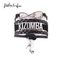Little MingLou Infinity love Kizomba Bracelet high heels Charm bracelets & bangles for Women men leather braid suede jewelry