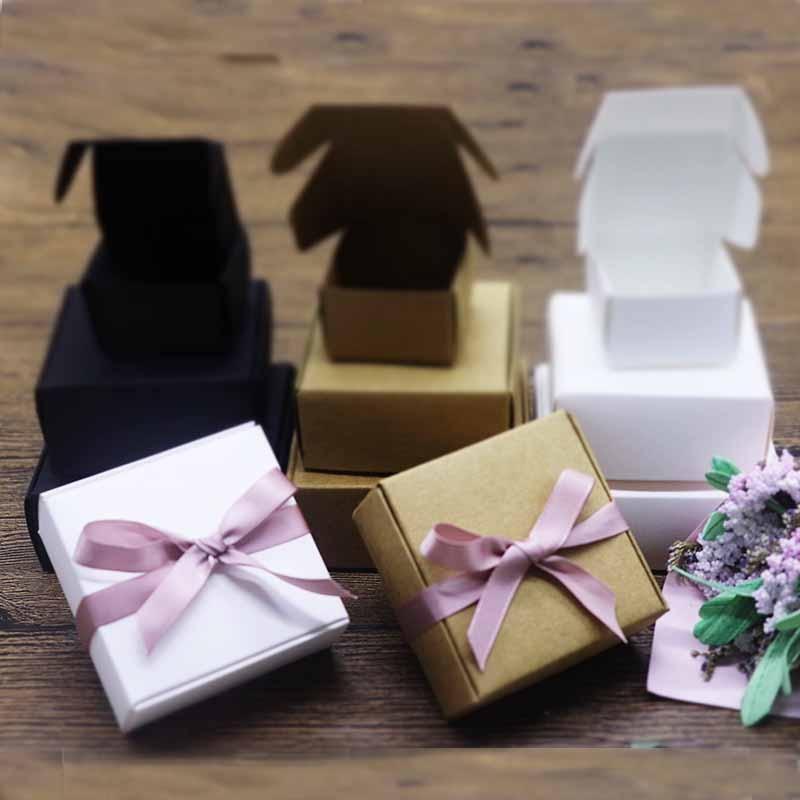10pcs/lot 16sizes Vintage Kraft Paper Box, Cardboard Handmade Soap Box,white Craft Paper Gift Box,black Packaging Jewelry Box