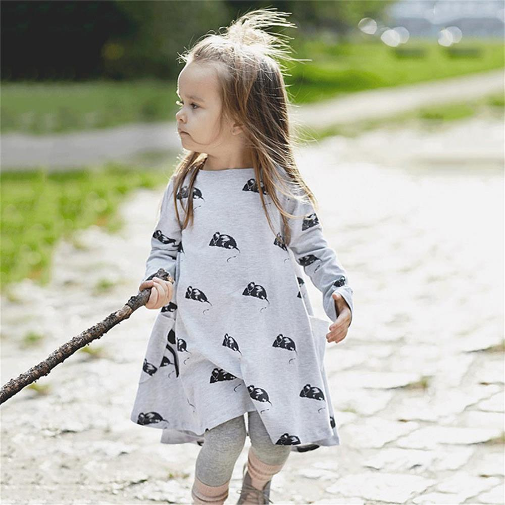 Grey Baby Dress 90-130 Children Clothes Girls Dresses Infant Blouses Long Kids Jumpers 100% Cotton