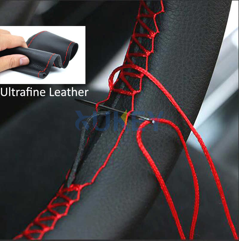 Ultrafine Fiber Leather Hand Sewing DIY Car Steering Wheel Cover Steering-wheel Covers For Ford Focus 2 3 Kia Benz Smart Nissan