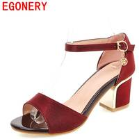 Egonery Office Ladies Sandals Cover Heel Solid Shoes 3 Color Womens Sandals Summer 2017 New Come