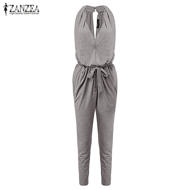ZANZEA Fashion New 2017 Womens Sexy Sleeveless Long Rompers Casual Jumpsuit V Neck Overalls Plus Size S M L XL 2XL 3XL