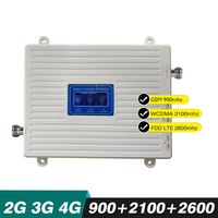 70dB Gain LCD Display 2G 3G 4G Triple Band Repeater GSM 900+WCDMA 2100+LTE 2600 MHz Cellular Amplifier Cell Phone Signal Booster