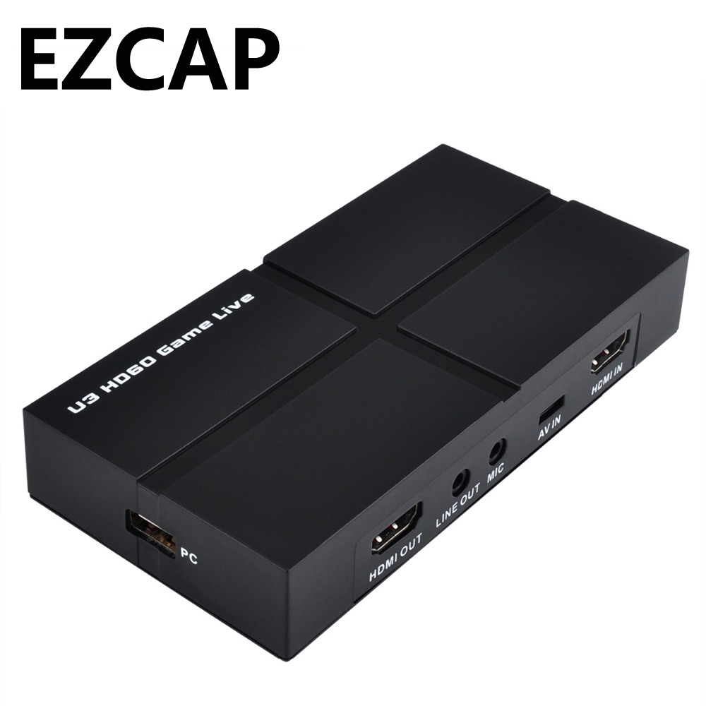 USB 3.0 HD 1080P Game Capture Card Video Record BOX with OBS Live Video Streaming,with Mic-in HDMI/YPBPR/AV,Windows Linux Os X