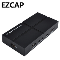 USB 3.0 HD 1080P Game Capture Card Video Record BOX with OBS Live Video Streaming,with Mic in HDMI/YPBPR/AV,Windows Linux Os X