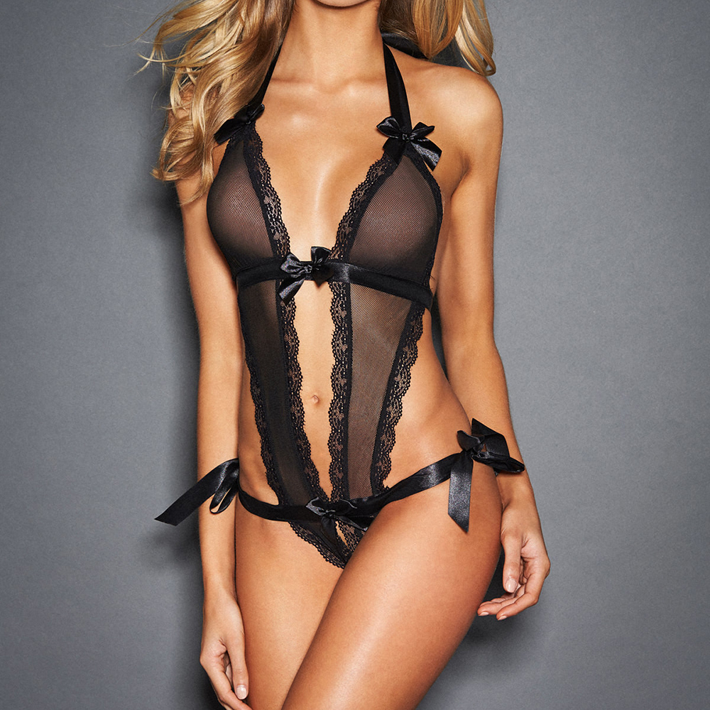 OLO Sexy Lingerie V-Neck Onesies Erotic Dress Transparent Sleepwear Costumes Temptation Adult Products Open Crotch Lace