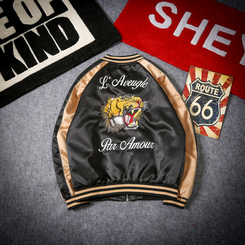 Вышивка Тигр курточка бомбер для мужчин Уличная Хип Хоп Бейсбол Куртка США Размеры S-XXL