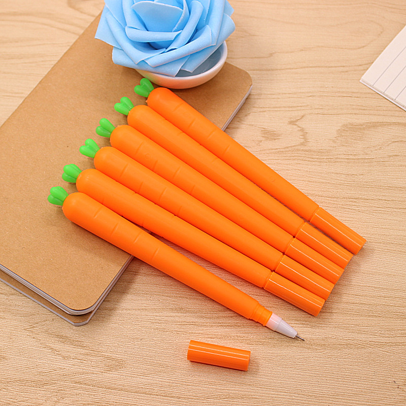 2pcs/lot 0.38mm Novelty Fresh Carrot Gel Ink Pen Promotional Gift Stationery School & Office Supply Birthday Gift