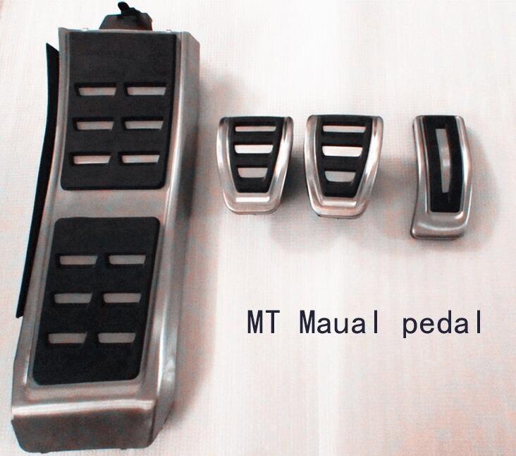 Rete métal anti-dérapant voiture pédale gaz frein pad repose pied couvercle accélérateur pour Audi A4 A5 A6 (13 +) A7 Q5 MT Maual - 2